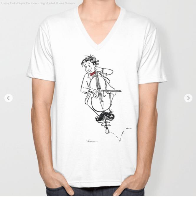 Funny Cello Player T-Shirt by Joana Miranda Studio at Society6