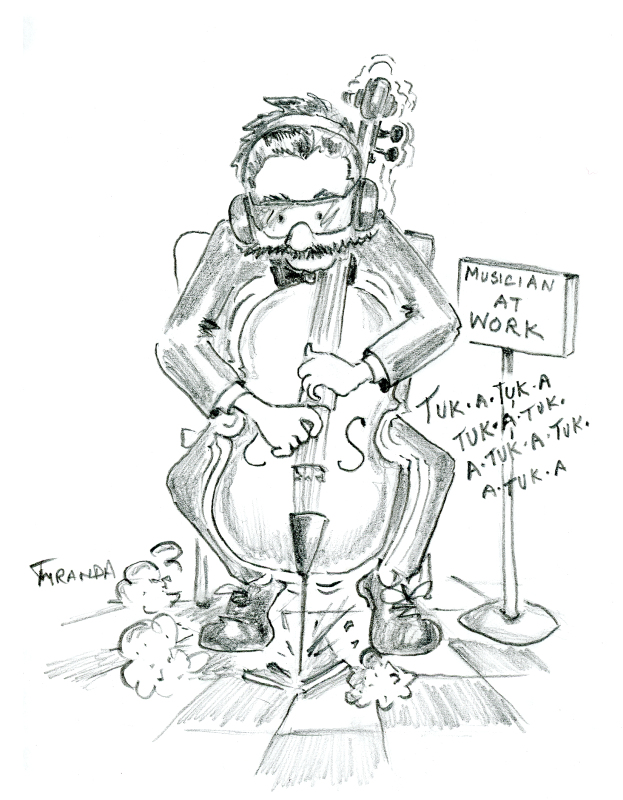 "Cartoon of cello player ""at work"", by Joana Miranda"