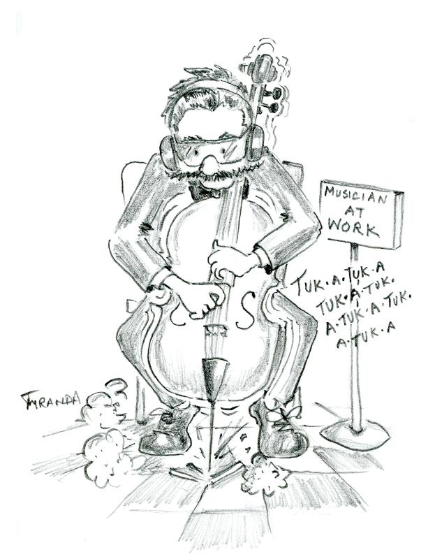 """Cartoon of cello player """"at work"""", by Joana Miranda"""