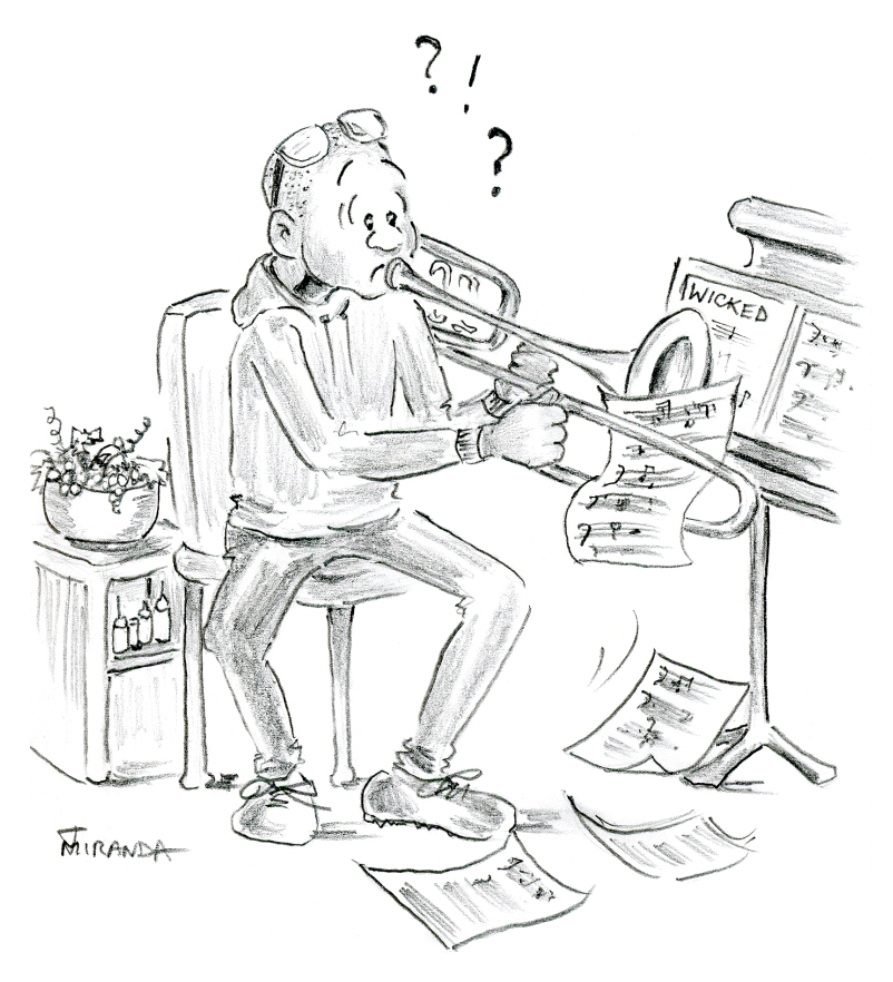 Pencil cartoon of confused trombone player by Joana Miranda