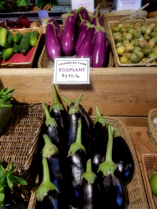 Photo of organic eggplants at farm stand in Vermont