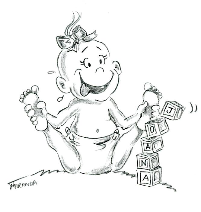 Funny pencil illustration of baby girl by Joana Miranda
