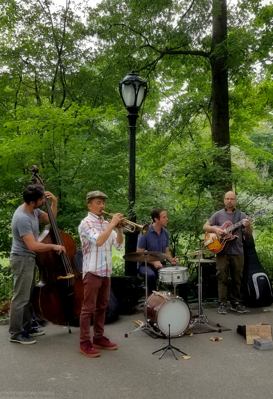 Photo of jazz band playing outdoors in Central Park