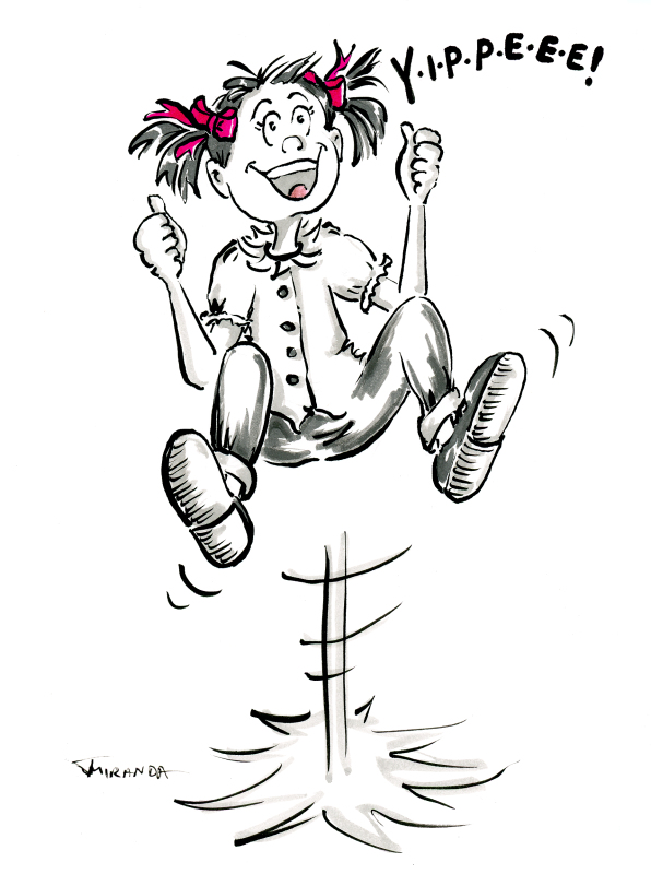 Funny pen and ink cartoon of girl jumping for joy by Joana Miranda