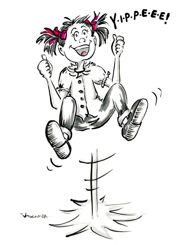 Funny pen and ink cartoon of girl jumping for joy by Joana Miranda