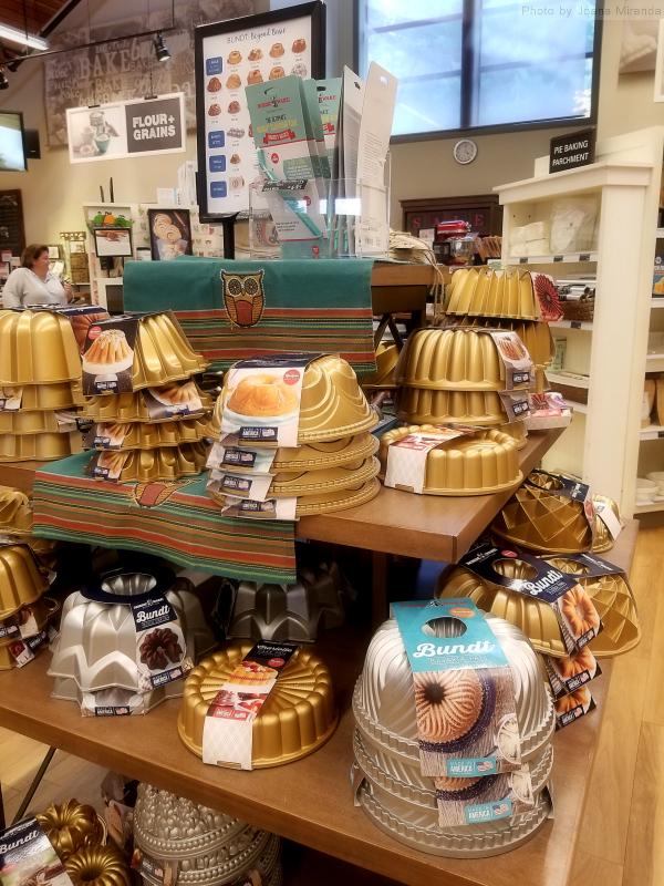 Photo of Bundt cake pans at King Arthur Flour store.