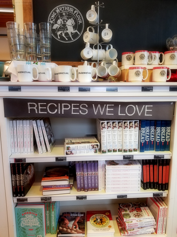Photo of cookbooks at King Arthur Flour store.