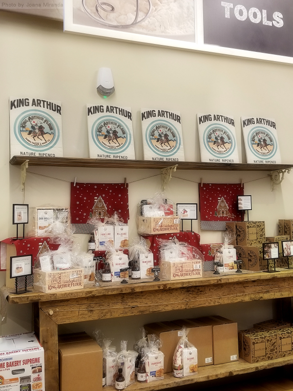 Photo of holiday display table at King Arthur Flour store.