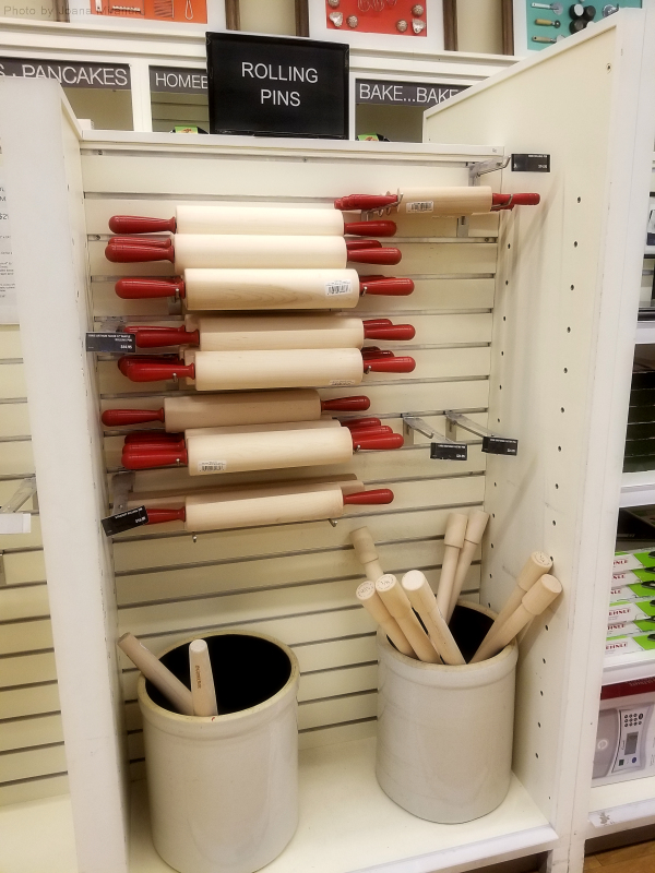 Photo of rolling pins at King Arthur Flour store.
