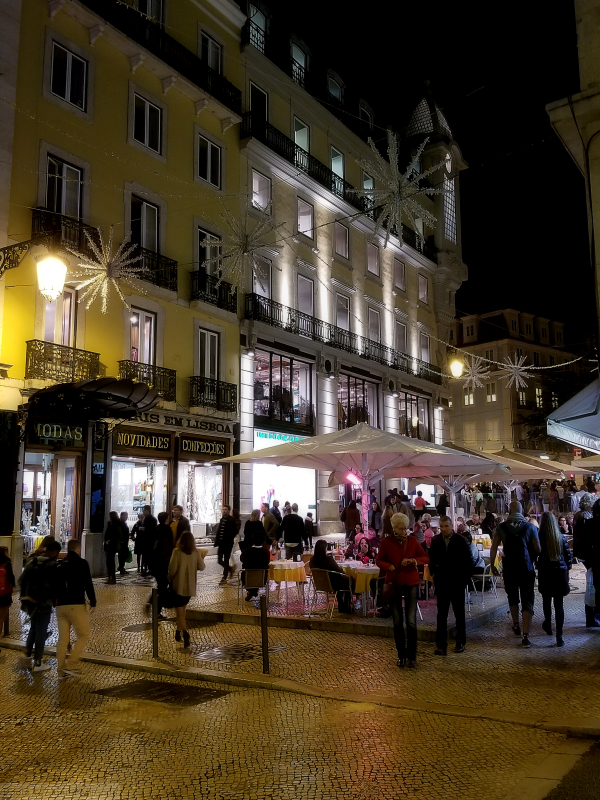 Chiado district of Lisbon at night