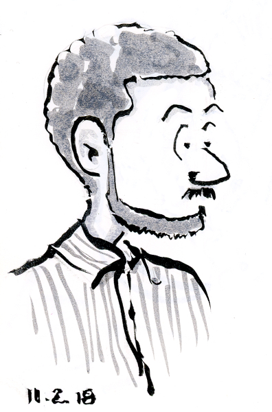 Quick Pentel Pocket Brush Pen Cartoon sketch by Joana Miranda