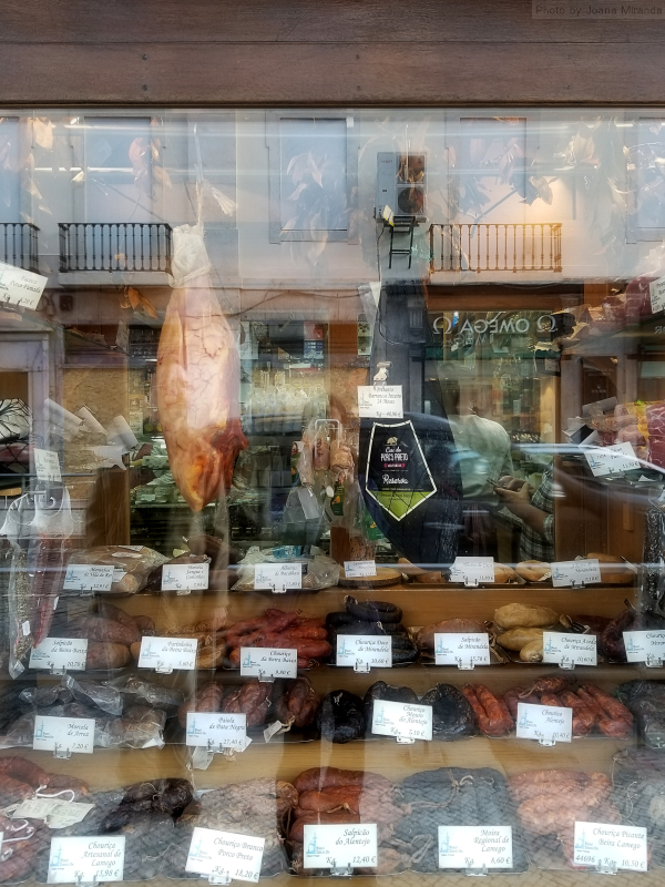 Photo of meat display window in Lisbon, Portugal