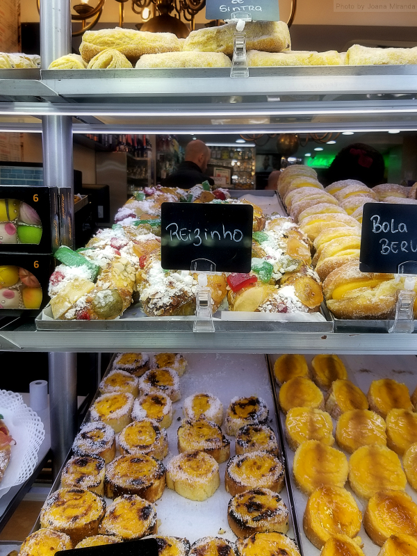 Small King's Cakes in a pastry window display in Lisbon, Portugal