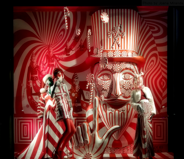Peppermint candy holiday window at 2018 Bergdorf Goodman holiday window display