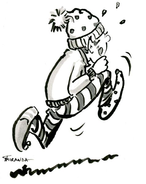 Quick brush pen sketch of running elf by Joana Miranda