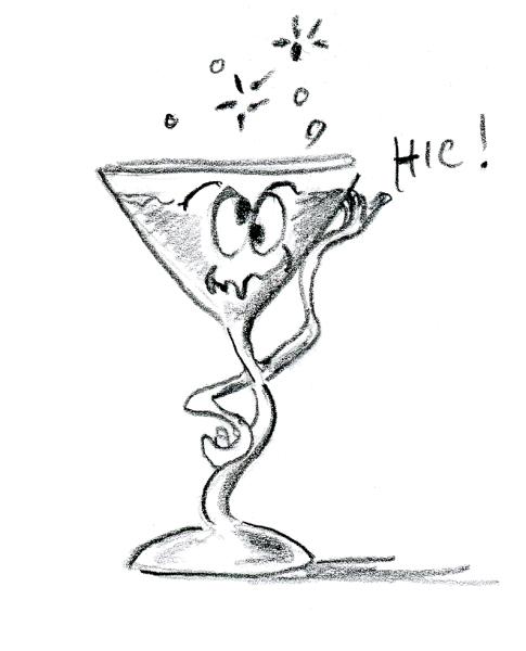 Cartoon of drunk martini glass by Joana Miranda