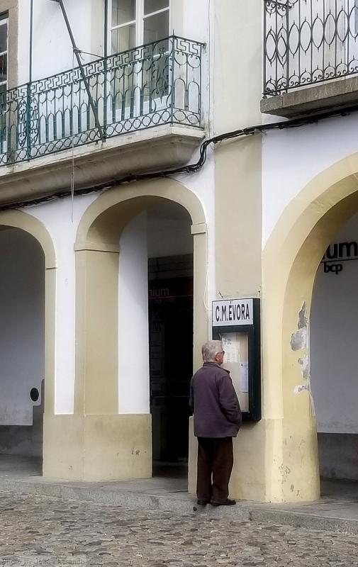 Portuguese man checking the death notice board in the town square in Evora, Portugal
