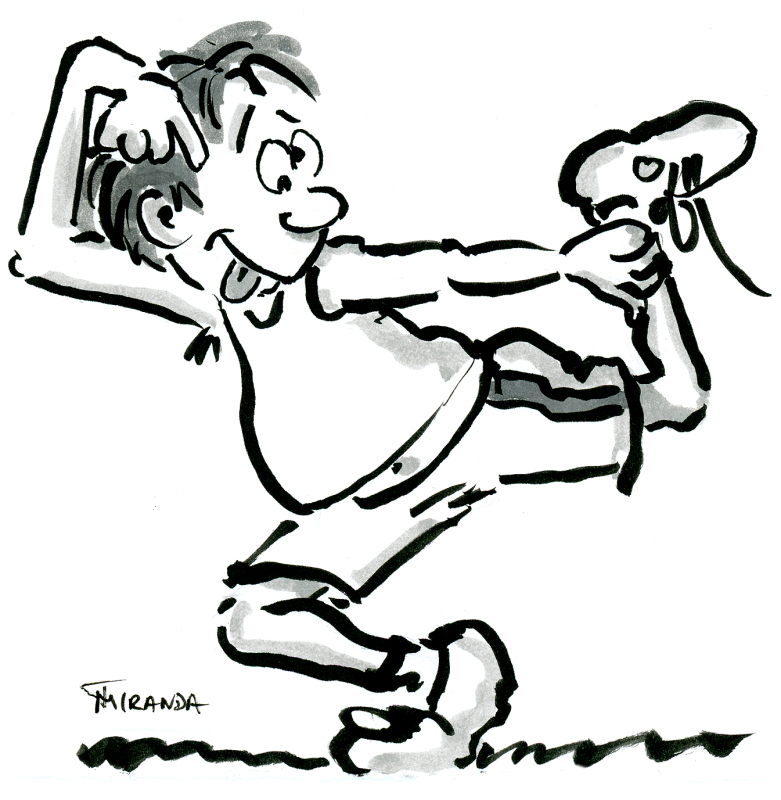 Funny quick brush pen cartoon sketch of man stretching by Joana Miranda