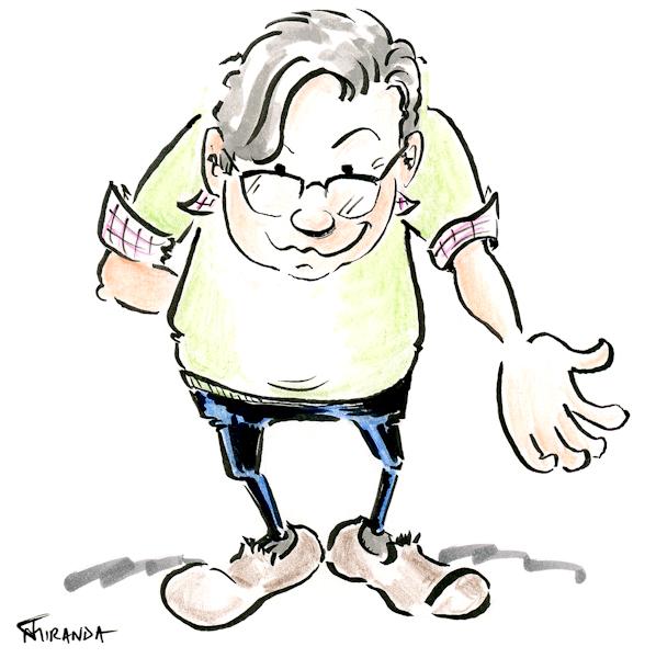 Cartoon of man offering his hand in help