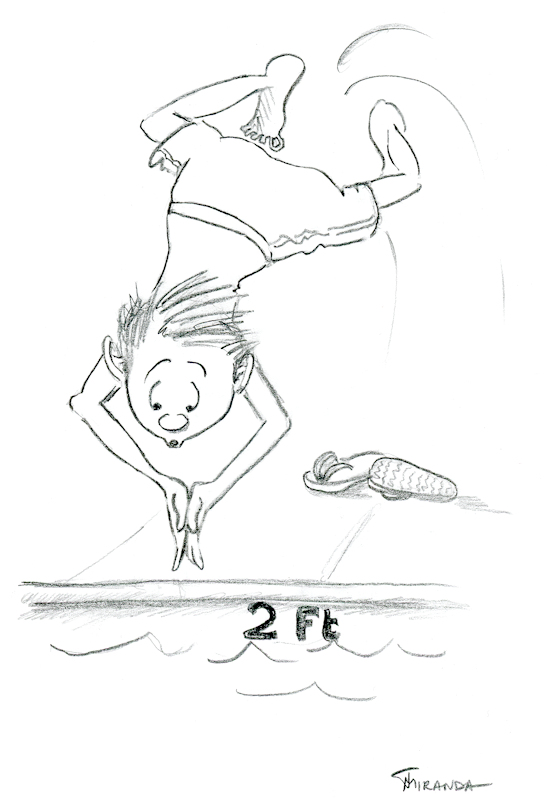 Funny cartoon of young boy diving into shallow pool