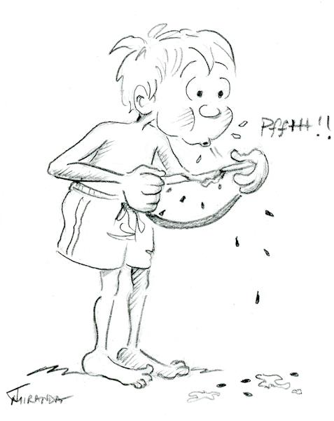 Pencil cartoon sketch of boy with watermelon