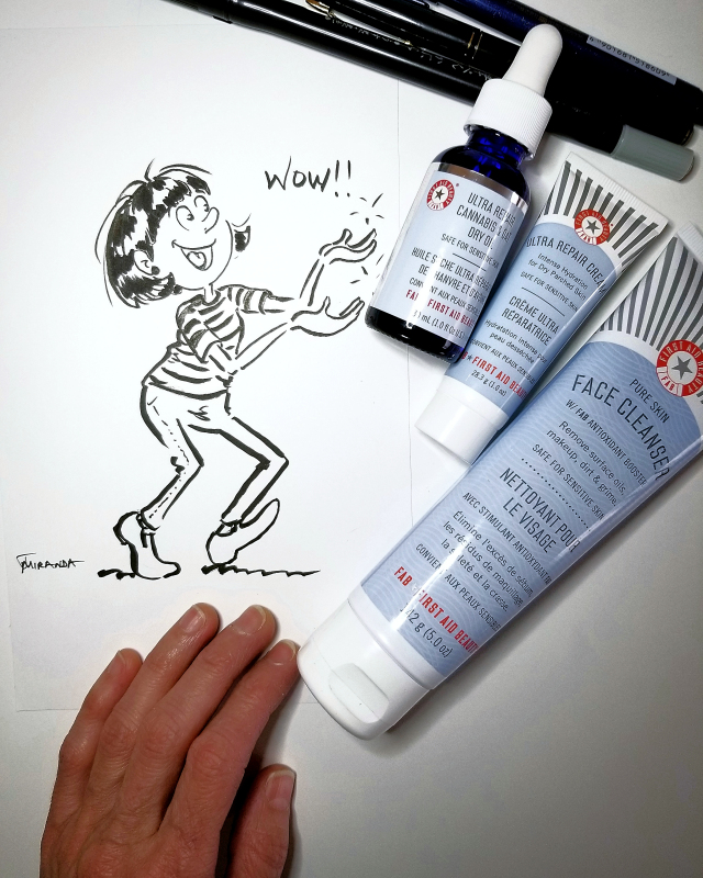 Photo of whimsical cartoon with First Aid beauty products