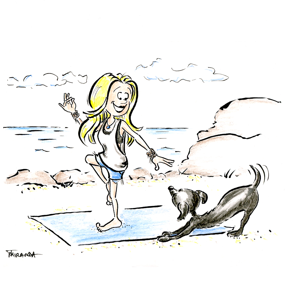 Cartoon illustration of blond girl doing yoga on a beach by Joana Miranda
