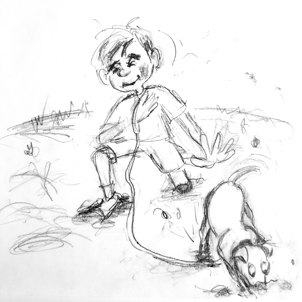 "Very loose pencil doodle preliminary drawing for ""Muddy"" illustration by Joana Miranda"