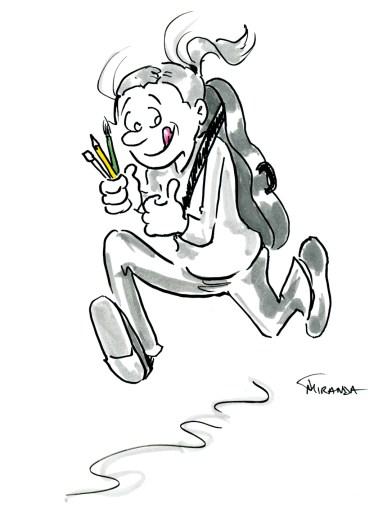 Cartoon sketch of artist musician running to gig, by Joana Miranda
