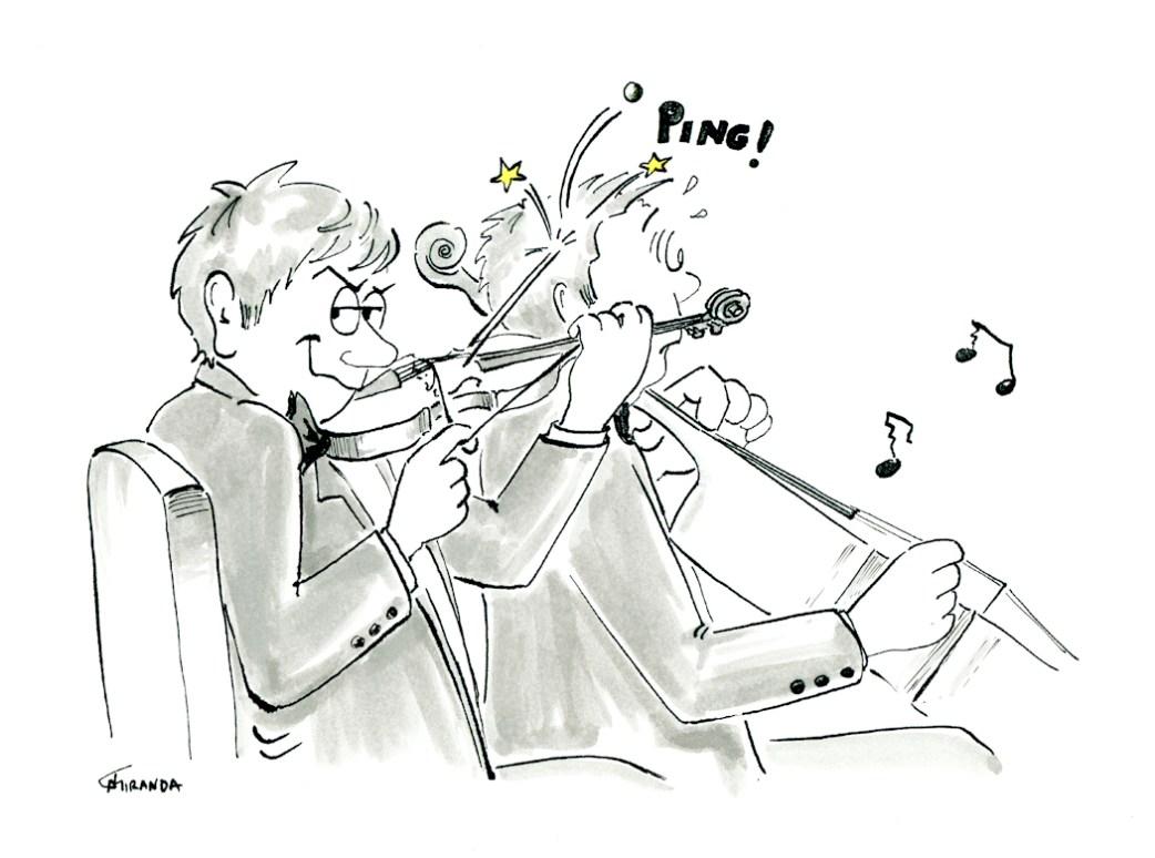 Music Cartoons - Orchestra musician cartoon by Joana Miranda