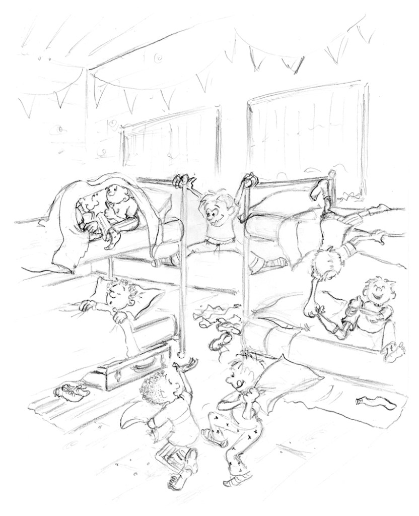 Camp-cartoon-illustration-preliminary-pencil-sketch-by-Joana-Miranda