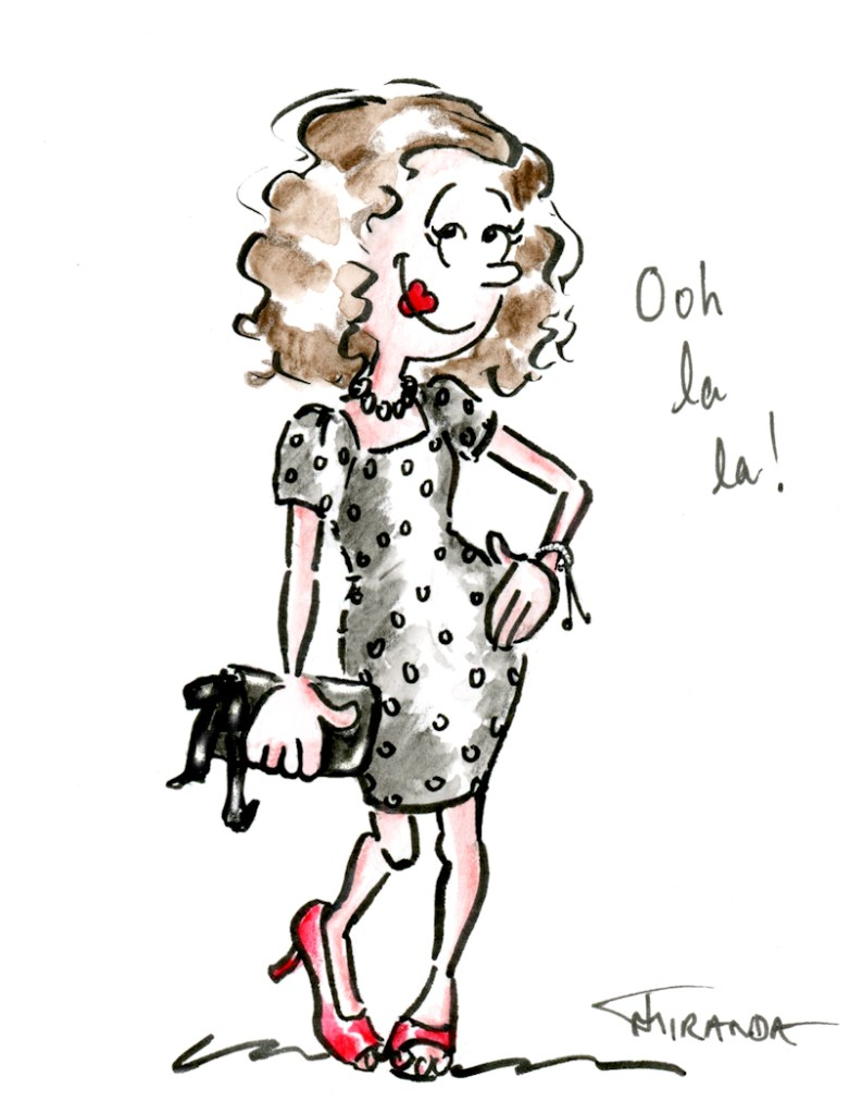 Ooh la la cartoon portrait illustration drawing