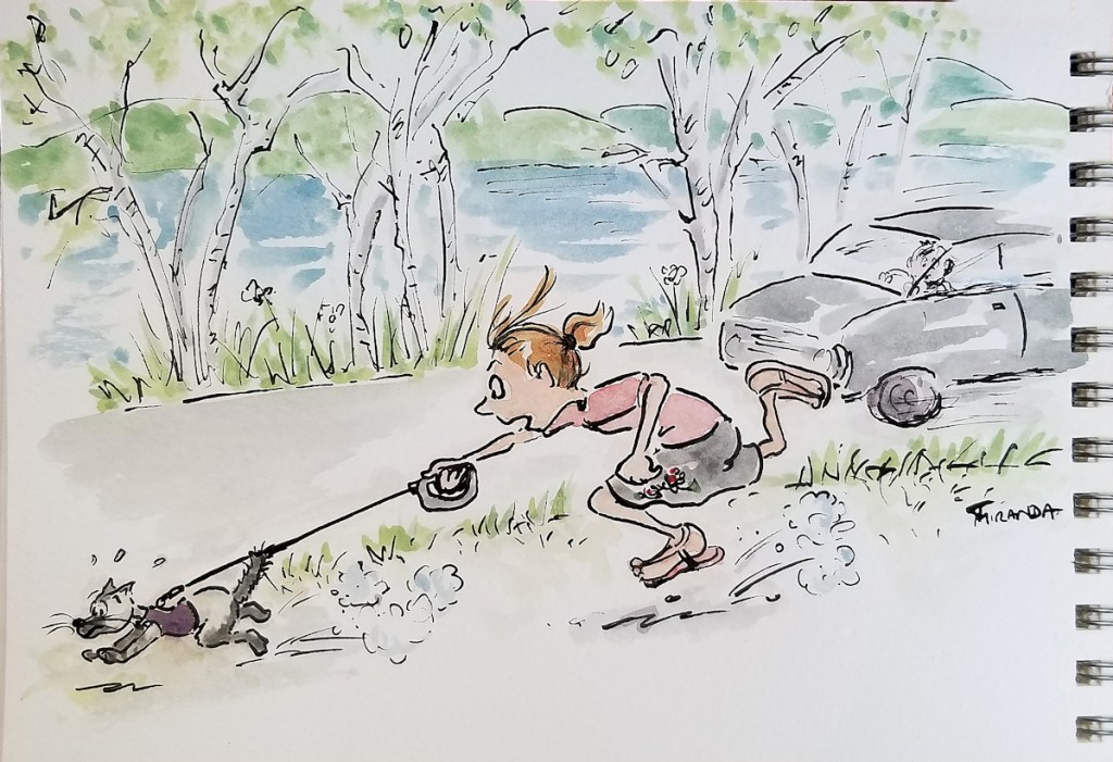 Cartoon snapshot of the cartoonist trying to walk a Siamese cat on a leash, by Joana Miranda