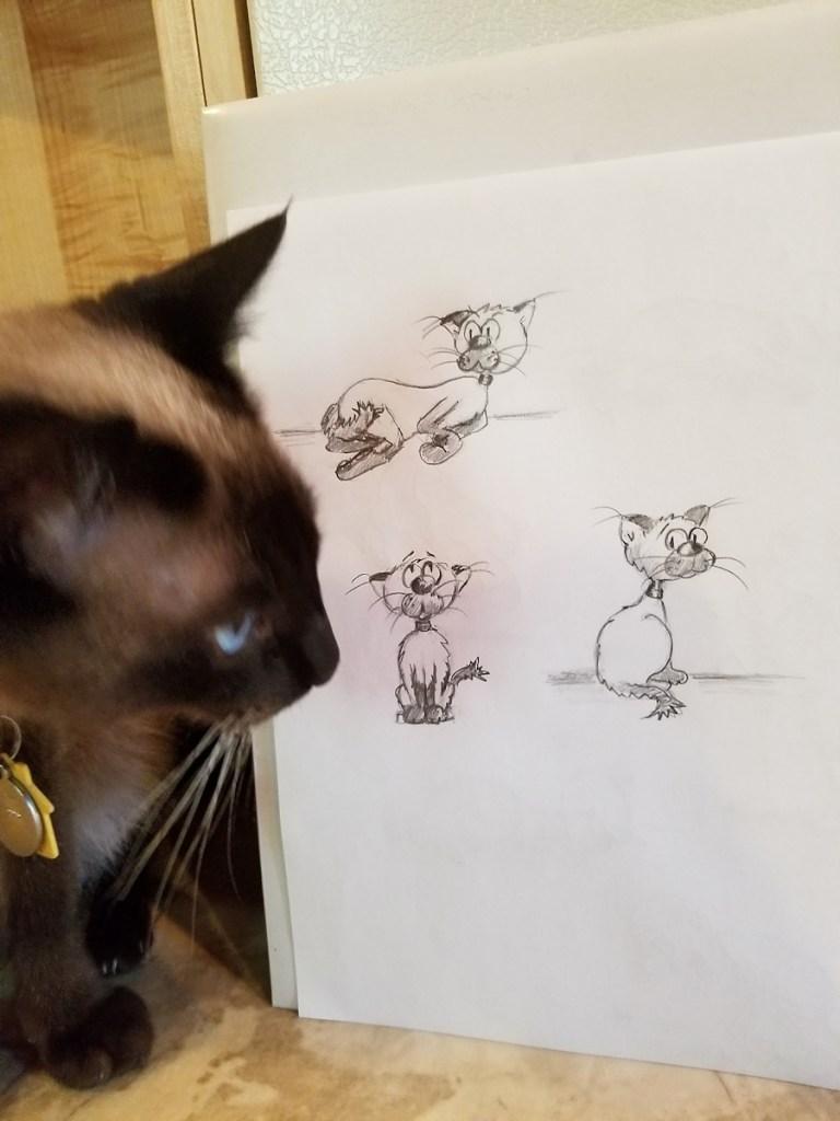 Photo-of-Siamese-cat-looking-at-cat-funny pencil sketches by Joana Miranda