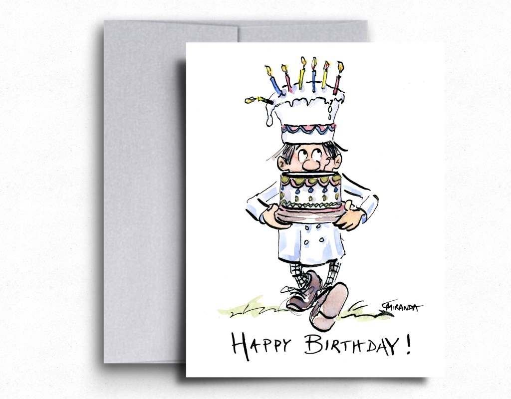The Little Chef birthday greeting card by Joana Miranda Studio is made of partially recycled paper.  With its timeless illustration and blank inside, it's the perfect choice for the next longest birthday card exchange!