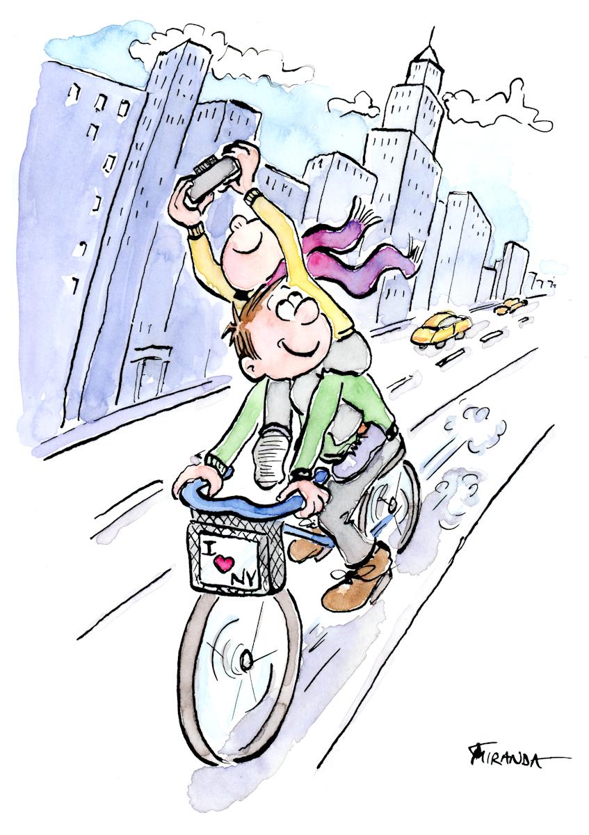 I Love NY ink and watercolor whimsical illustration by Joana Miranda