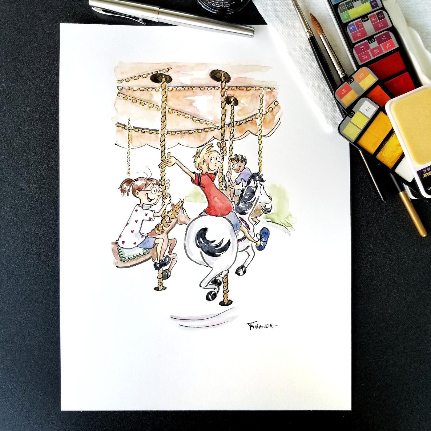 JMSC-177 Merry Go Round photo of original illustration by Joana Miranda