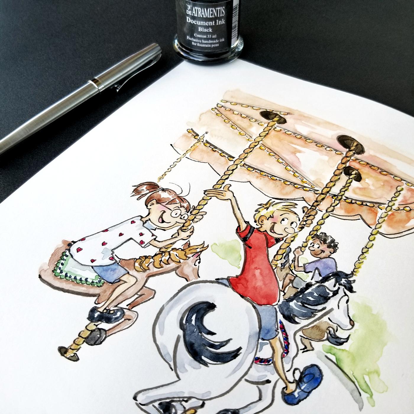 JMSC-177 Merry Go Round photo of original illustration by Joana Miranda - Detail2