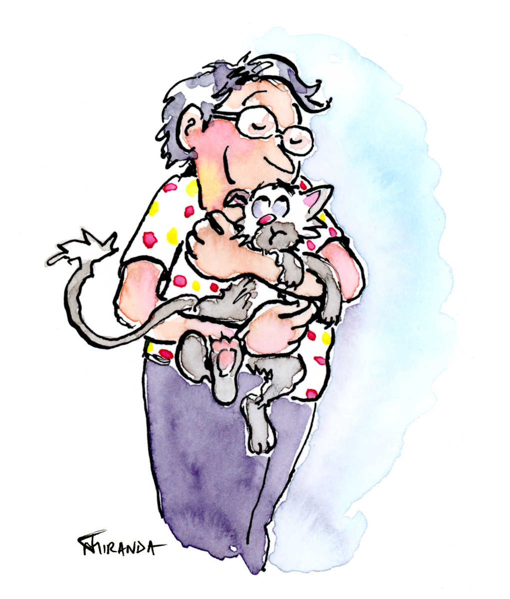 Siamese Snuggles ink and watercolor illustration by Joana Miranda