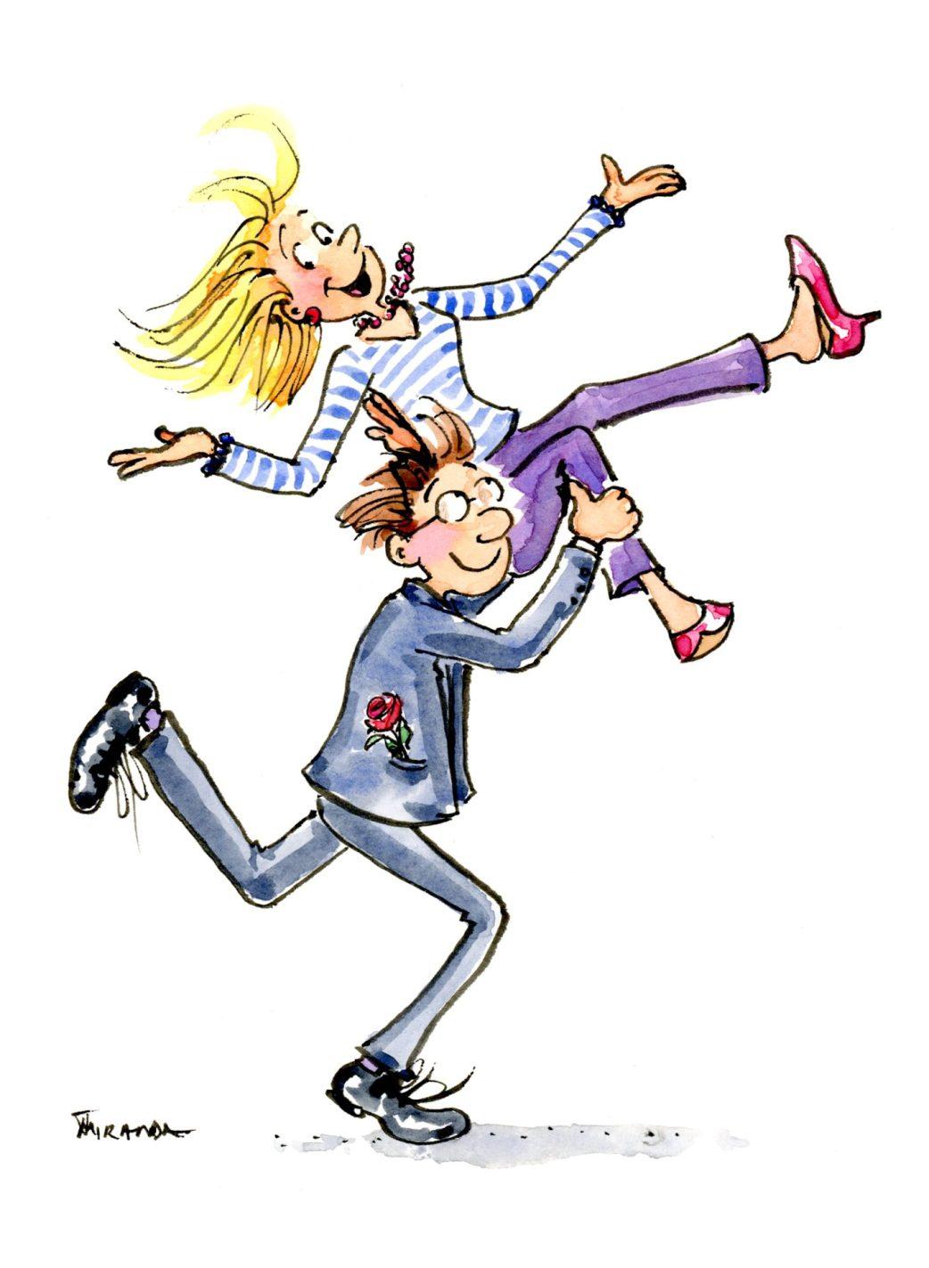 XOX happy couple watercolor ecard illustration by Joana Miranda