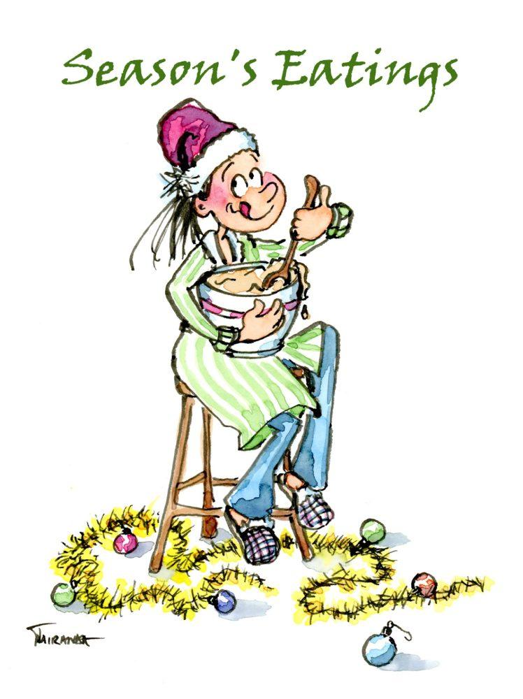Cute foodie lover Christmas card by Joana Miranda.  Now available at Joana Miranda Studio at Etsy.
