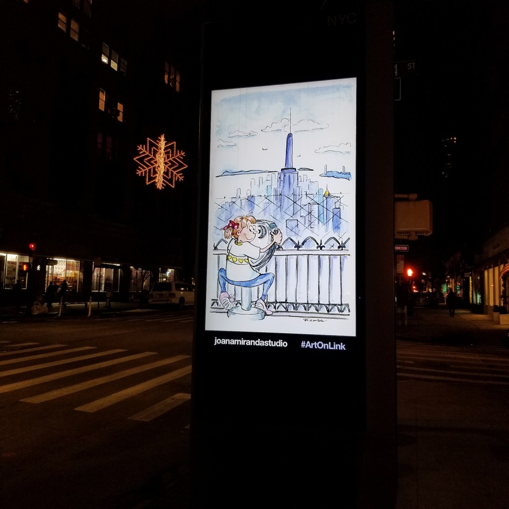 My illustrations on LinkNYC - Observation Deck illustration by Joana Miranda