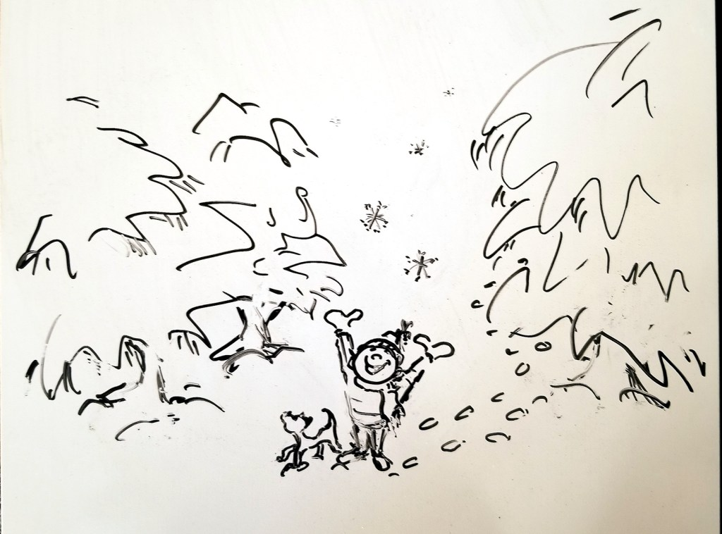 Whiteboard doodle and preliminary sketch for winter wonderland art by Joana Miranda