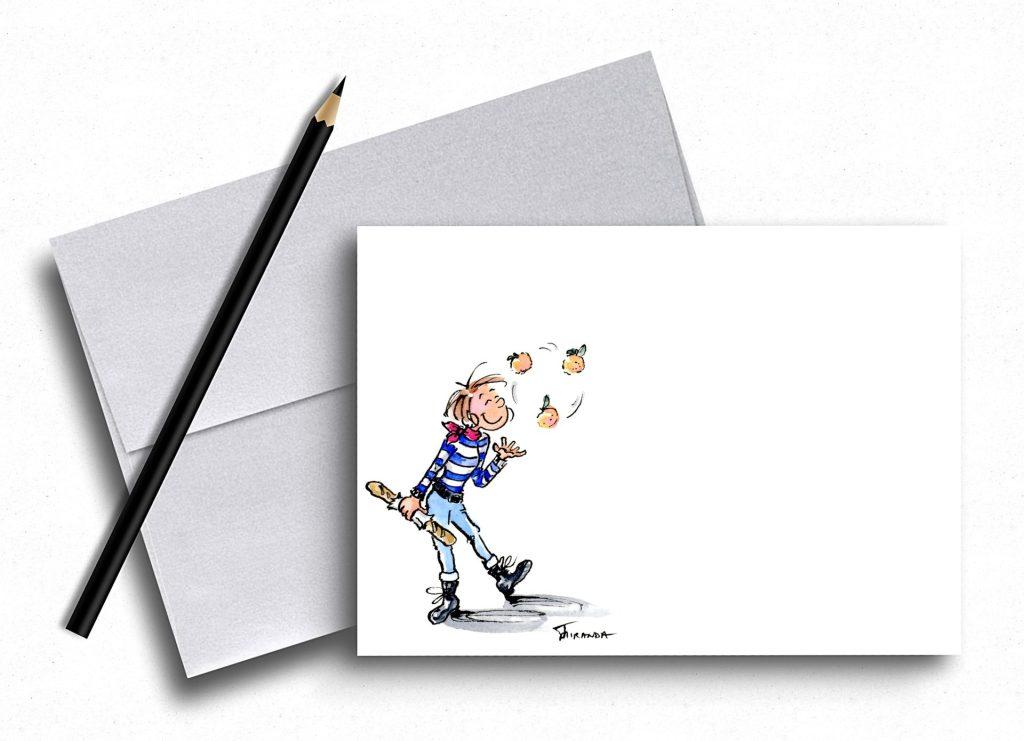 French Girl Cartoon note cards now available at Joana Miranda Studio at Etsy