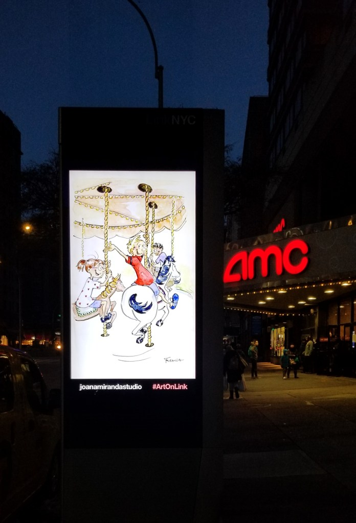 Photo of The Carousel illustration by Joana Miranda - As seen outside the AMC theater on Broadway