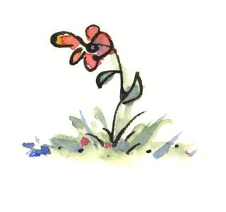 Little flower watercolor art by Joana Miranda