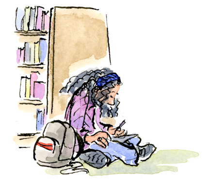 Field Sketching #2 - Quick hand- drawn ink cartoon sketch of woman sitting on the floor studying at Barnes and Noble bookstore.
