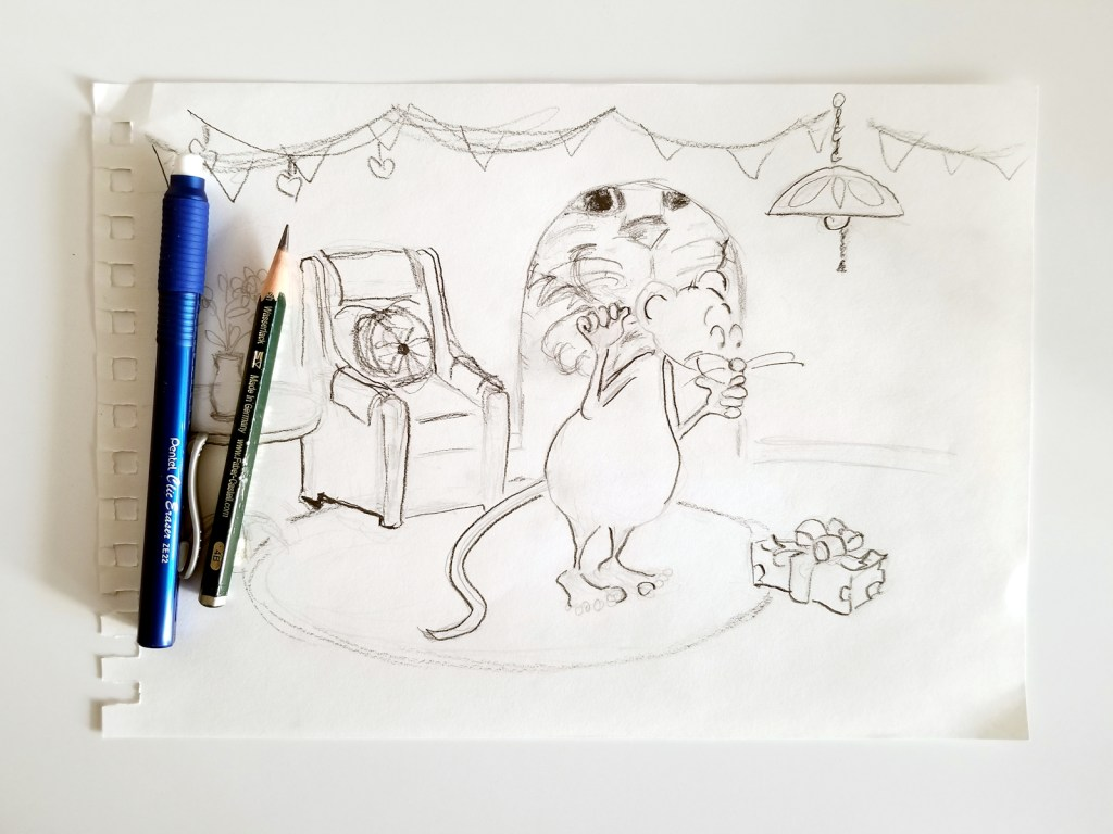 Rough pencil sketch for February's SCBWI|Draw This! prompt word challenge
