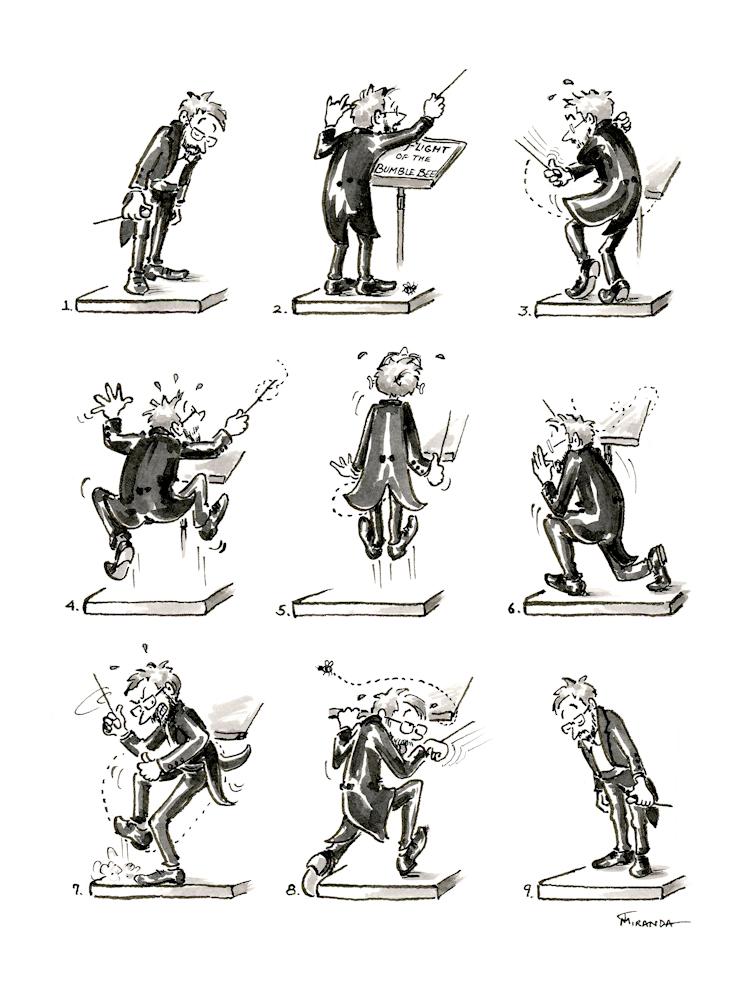 Conductor cartoons - The Flight of the Bumblebee by Joana Miranda
