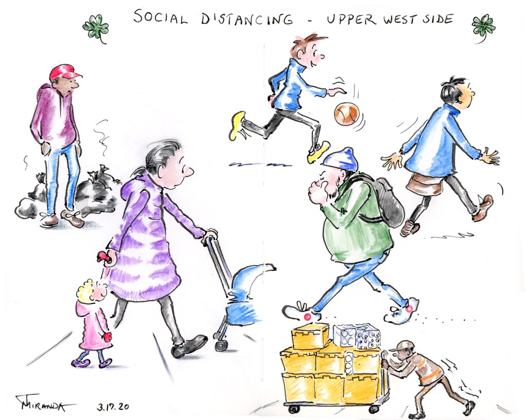 The art of social distancing - cartoon people sketches done while in self-quarantine